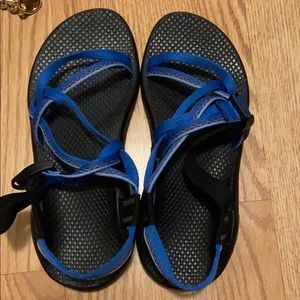 Blue/black chacos